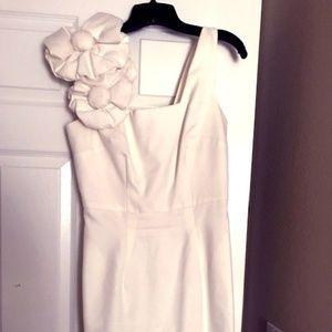 BHLDN white linen dress  with large rose/6/